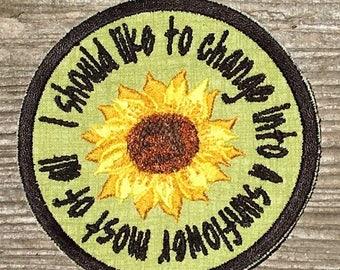 Harold and Maude handmade sunflower iron onpatch, iron on... I want to be Maude when I grow up.