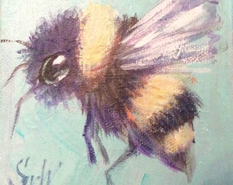 Bee  painting original art 4 x 4""