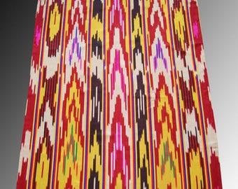 Amazing Vintage colorful  Atlas Ikat,  Dress Decor fabric, 100% silk Original Uzbek handcrafted 2yard 4 ench