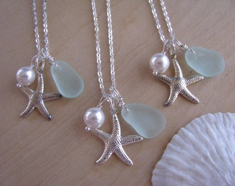Bridesmaid Sea Glass Starfish Necklaces in Sea Foam Green Natural Beach Glass Genuine Blue Sea Glass Beach Aqua Wedding