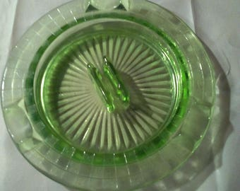 Green Depression Glass Checkerboard Ash Tray for Cigars