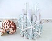 Nautical Whitewashed Driftwood Candle Holder, Turquoise Fish Net, Finger Starfish, Glass Insert