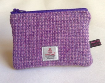 Harris Tweed lilac & purple celtic weave coin purse, zipped coin pouch, change purse, scottish gift, friend gift