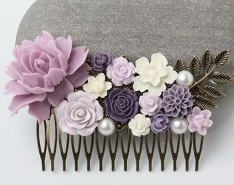Bridal Hair Comb, purple lilac lavender Wedding hair piece, purple Bridesmaid hair comb, Maid of Honor Gift, Purple Hair Accessories