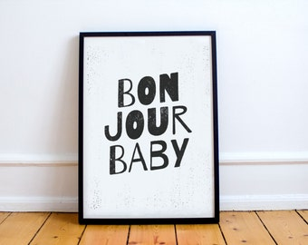 French Modern Kids Room Poster - Graphic Design Typography Print - Black and White Print - Minimal Design Poster - Engineering Print