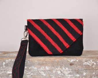 Clutch Black Red Striped Felted Handmade Purse