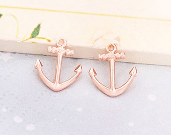 2 of 925 Sterling Silver Rose Gold Vermeil Style  Anchor Charms  12x14 mm. :pg0500