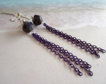 Purple Tassels-Sterling Silver Threaders