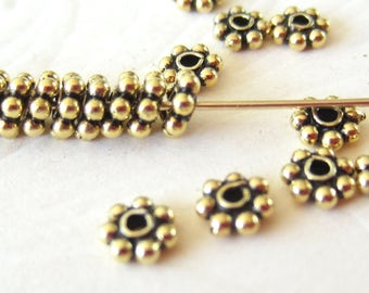 Precious Metal-Gold-Antiqued Vermeil-Daisies-20 Pieces-4mm-Small Spacers or Beads-Supply-Destash