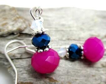 Multi-coloured Crystal Earrings - Swarovski Crystal Drop Earrings - Neon Pink Crystal Drop Earrings - Earrings for Sensitive Ears