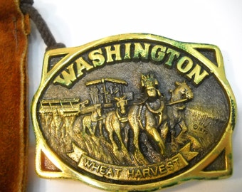 Vintage Washington Wheat Harvest Rainier Bank Belt Buckle With Leather Pouch