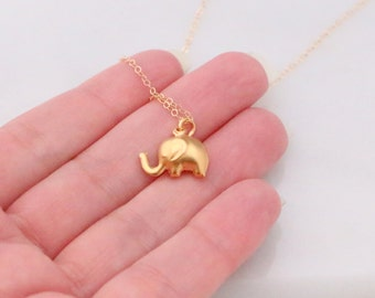 Gold Lucky Small Elephant necklace, Tiny Elephant Necklace, Animal Necklace, Tiny Charm Necklace, Gift for Her, Ready to Ship, Christmas
