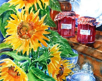 """Summr SALE """"Sunflowers and Apple Jelly""""  Original Painting in Watercolour, Still Life, Jelly, Flowers, Kitchen art, Rustic art,"""