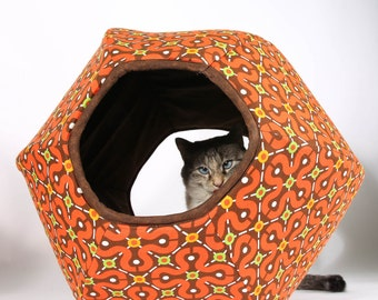 Cat Cave with two openings - the Cat Ball modern pet bed in Red tile cotton fabric