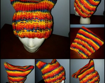 Hand knitted rainbow pussy hat. One of a kind and ready to ship