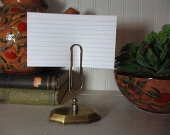 Small Brass Paper Clip Memo, Note Holder, Recipe Card Holder with Brass Base, Office, Staging, Photo Holder