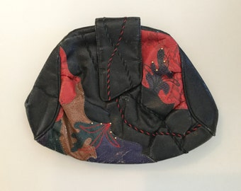 1980s Vintage ABSTRACT PATCH CLUTCH Purse