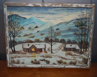 Vintage Rustic Winter Painting, Rustic Decor, Winter Snow Scene, Country Cabin Decor, Shabby Chic Painting, Rustic Painting, Folk Art