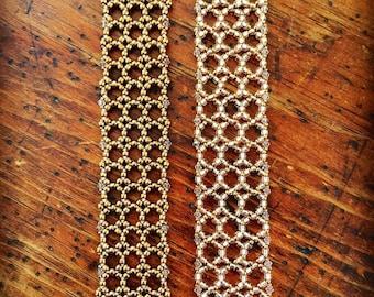 Vintage Style beaded cuff bracelet, beaded bracelet, lacy cuff, vintage look cuff bracelet, bridal cuff, beaded jewelry
