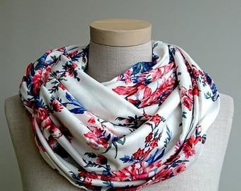 Huge infinity scarf, shrug, shawl, cowl and hood in one piece in red and blue flowers - READY to ship