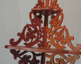 Vintage Corner Shelf Ornate Cut Out Shelf Maple Leaf Shelf Wood Shop Shelf Hand Made shelf