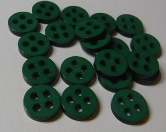 20 Green Checkered Hole Round Buttons Size 7/16""