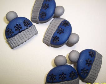 """5 Blue and Gray Hat Shank Buttons Size 13/16""""."""