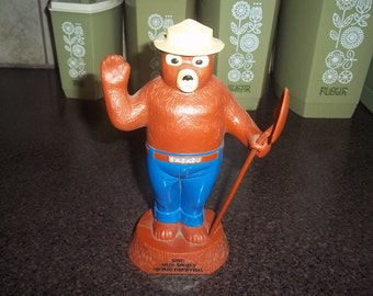 Vintage Smokey the Bear Piggy Bank - Smokey Prevent Forest Fires - Complete with shovel -RARE!