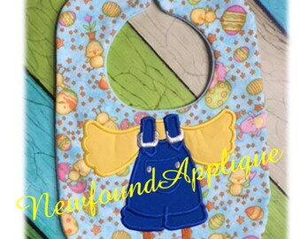 In The Hoop Easter Chick Baby Bib Applique EMbroidery Machine Design