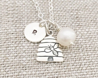 Personalized Sterling Silver Beehive Charm Necklace, Freshwater Pearl, Sterling Silver Chain, June Birthstone, Gift for Her
