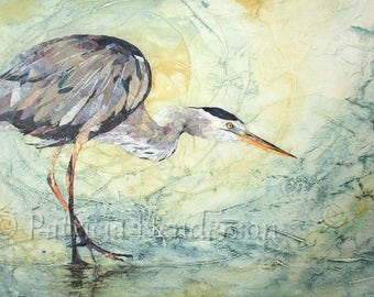 """GREAT BLUE Original Torn Paper Collage Mixed Media Heron Painting 24X18"""" on Gallery Wrapped Canvas"""