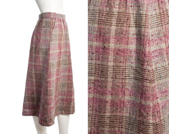 Vintage pink and brown plaid skirt -- wool A-line skirt -- retro school skirt -- size small
