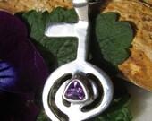 Reiki Jewelry, Cho Ku Rei Necklace, Amethyst Necklace, Reiki Symbol Jewelry, Reiki Master Symbol, Reiki Symbol, Sterling Silver, Reiki Gift