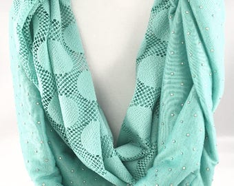Green Scarf, Infinity Scarf, Long scarf, Loop scarf, Mint Green, Scarf, Lace Scarf, Studded, Circle Scarf, Cowl Scarf, Eternity Scarf