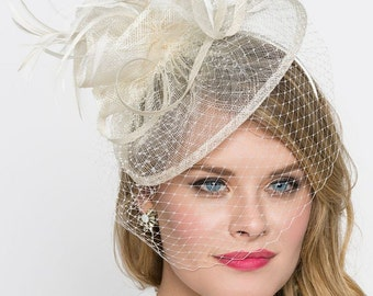 "Ivory Fascinator - ""Noor"" Ivory Cream Fascinator Hat Headband w/Ribbon waves and veil"