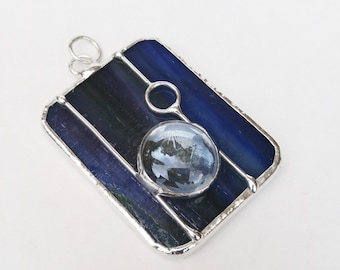 Dark wash denim blue stained glass rectangle pendant FREE SHIPPING necklace jewelry