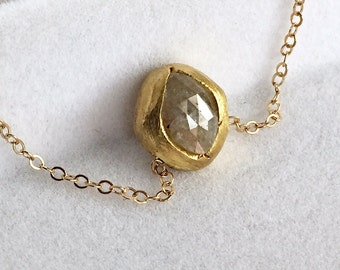 22K and 14K yellow gold pendant- pave set- rose cut diamond necklace-one of a kind-Enzo Luccati