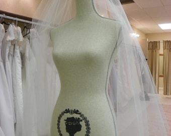 Two Tier Waltz length short wedding veil, white,  ivory, diamond white