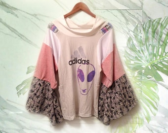 90s Adidas Pastel Goth Upcycled Angel Wing Bell Sleeve Colorblock Alien Face Screenprint Boatneck Sweatshirt Patch Pocket OOAK sample size L