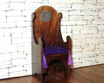 Medieval Chair, Purple Silk Cushion, Gothic Dollhouse Miniature 1/12 Scale, Hand Made