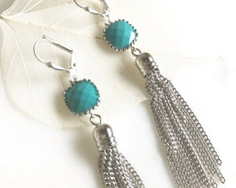 Turquoise and Silver Tassel Earrings.  Drop. Dangle. Silver Tassel Jewelry. Turquoise Jewelry. Jewelry Gift.  Dangle Earrings. Modern. Gift.