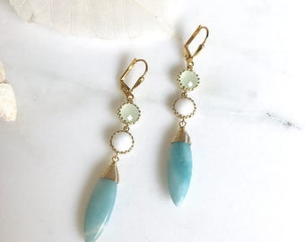 Amazonite Dangles with Mint and White Stones. Dangle Earrings. Drop Earrings. Jewelry.