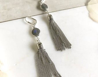 Labradorite and Silver Tassel Earrings.  Drop. Dangle. Silver Tassel Jewelry. Grey Jewelry. Jewelry Gift.  Dangle Earrings. Modern. Gift.