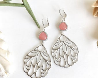 SALE - Pink Stone and Silver Wing Dangle Earrings. Pink Wing Earrings. Jewelry Gift.