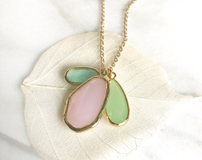 Long Necklace. Stone Cluster Necklace. Simple Long Necklace. Mint Turquoise Pink Stone Necklace. Layered. Layering Necklace. Gift Necklace.