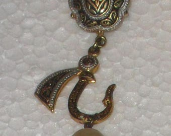 Vintage Damascene style earrings with pearl. 60s.