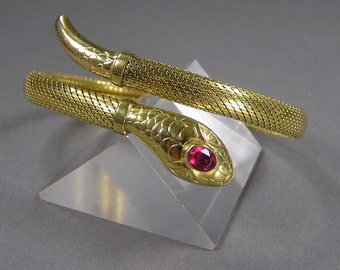 Antique Snake Bracelet, Mesh Body, Glass Ruby, Signed, Egyptian, Cleopatra, Antique European Jewelry