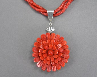 Vintage Coral Necklace, Mediterranean Red Coral, Untreated, Chrysanthemum, Flower Necklace