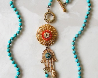 Gold Hamsa Hand Pendant  Necklace - Turquoise and Gold Beaded Chain