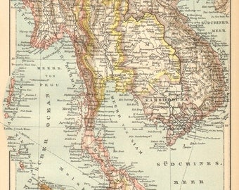 1896 Original Antique Dated Map of Farther India, Maylasia Vietnam and Cambodia, Colonial Possessions of France, England and the Netherlands